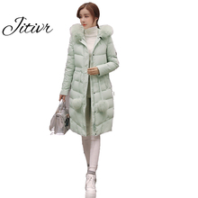 Newest Jitivr 2017  Winter Women's Cotton Clothing Slim Thick Clothes Solid Adjustable Cotton Padded Clothes Fashion Girl Coat