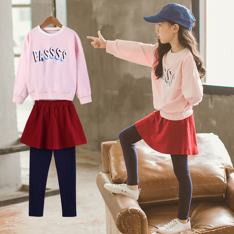 New Girls Clothing Sets 2018 Autumn Kids Skirt Faux Two Piece Culottes Sports Suit Children Long-sleeved Cotton Track Suit CC883