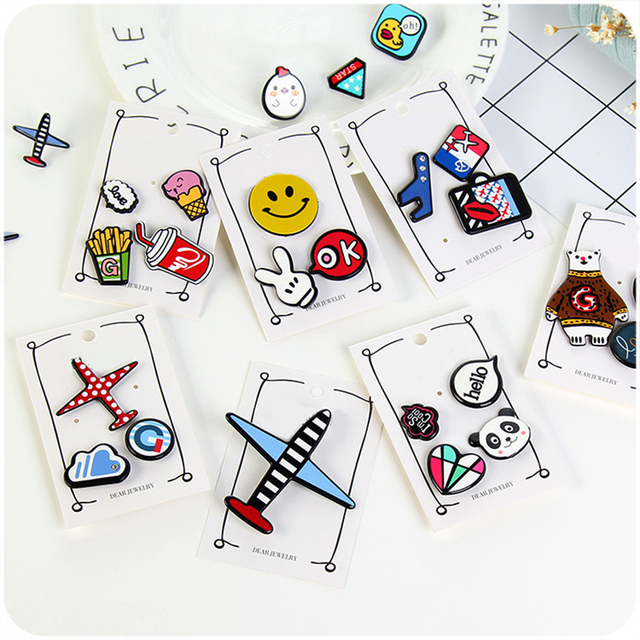 3-4Pcs Multi Shapes Cartoon fashion Acrylic Pin Badge Clothes Badges Backpack Beautify Icons Shoes Package Icon For Kids