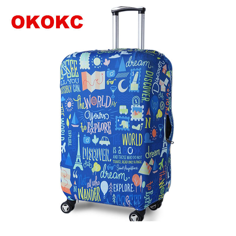 OKOKC Blue Graffiti Travel Elastic Luggage Suitcase Protective Cover Apply To 19''-32'' Suitcase, Travel Accessories