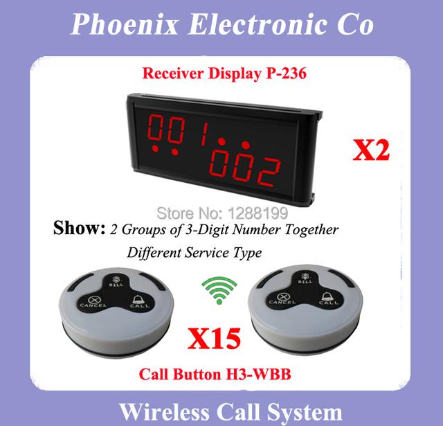 433.92 MHZ Sem Fio Sistema de Sino Chamada Sem Fio Restaurante Sistema de Paginação Com 15 Sinos H3-WBB 2 Wireless Display P-236