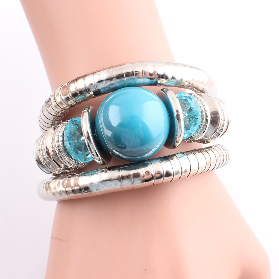 18 Tibetan Silver Snake Bracelets for Women Men Resin Inlay Simulated Pearl Beads Flexible Bangles Pulseras Mujer B581 21