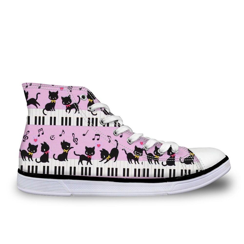 Dessin animé personnalisé mignon animal chat avec Piano Note de musique baskets haut classique femmes toile vulcaniser chaussures femme chaussures plates pour femme