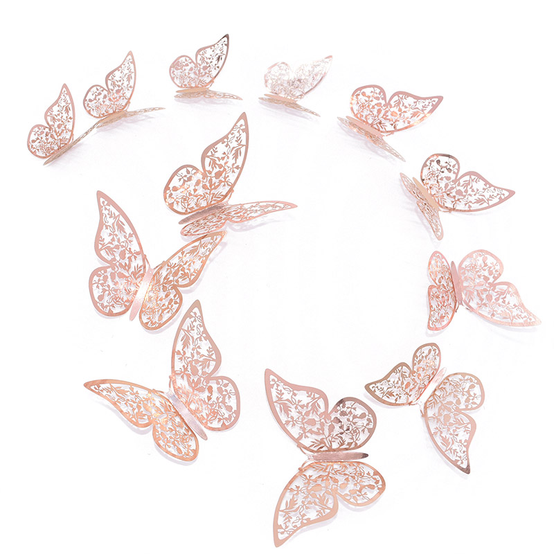 12 Pcs/Set 3D Wall Stickers Hollow Butterfly Paper 3 Sizes Silver Gold Stickers Fridge Stickers Home Party Wedding DIY Decor