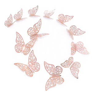 12 Pcs/Set 3D Wall Stickers Hollow Butterfly Paper 3 Sizes Silver Gold Stickers Fridge Stickers Home Party Wedding DIY Decor(China)