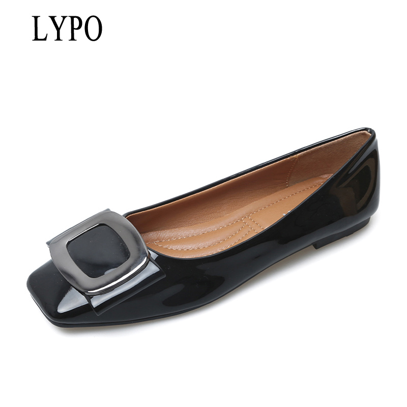 LYPO 2018 Buckle Women Flats Spring Autumn Patent Leather Women Shoes Square Toe Lady Footwear slip on size 35-41WFS762 new women flats shoes leather round toe shoe ladies fashion leather girl shoes slip on work footwear spring summer big size
