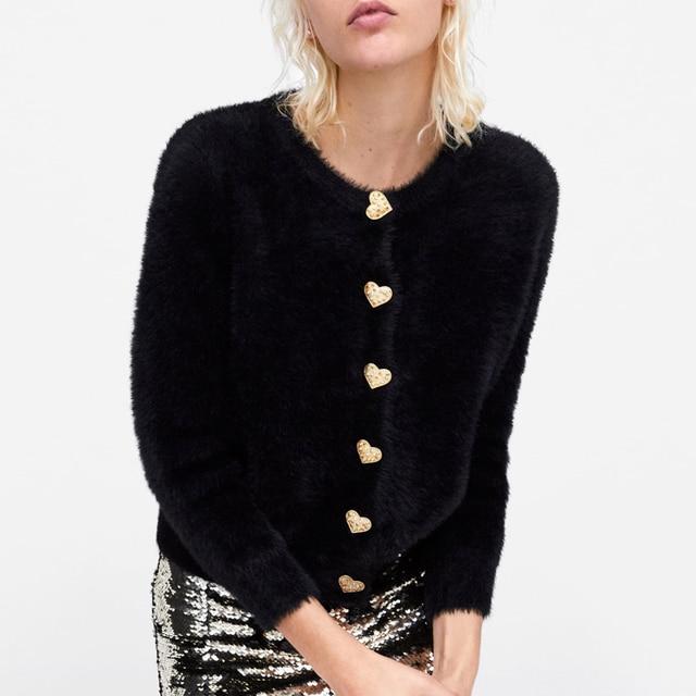 Chic Heart Buttons Furry Warm  Women's Sweater  2