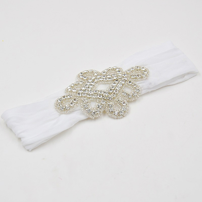 Yundfly Luxurious Newborn Toddler Baby Girls Head Wraps Rhinestone Knot Nylon Turban Headband Hair Accessories Birthday Gifts