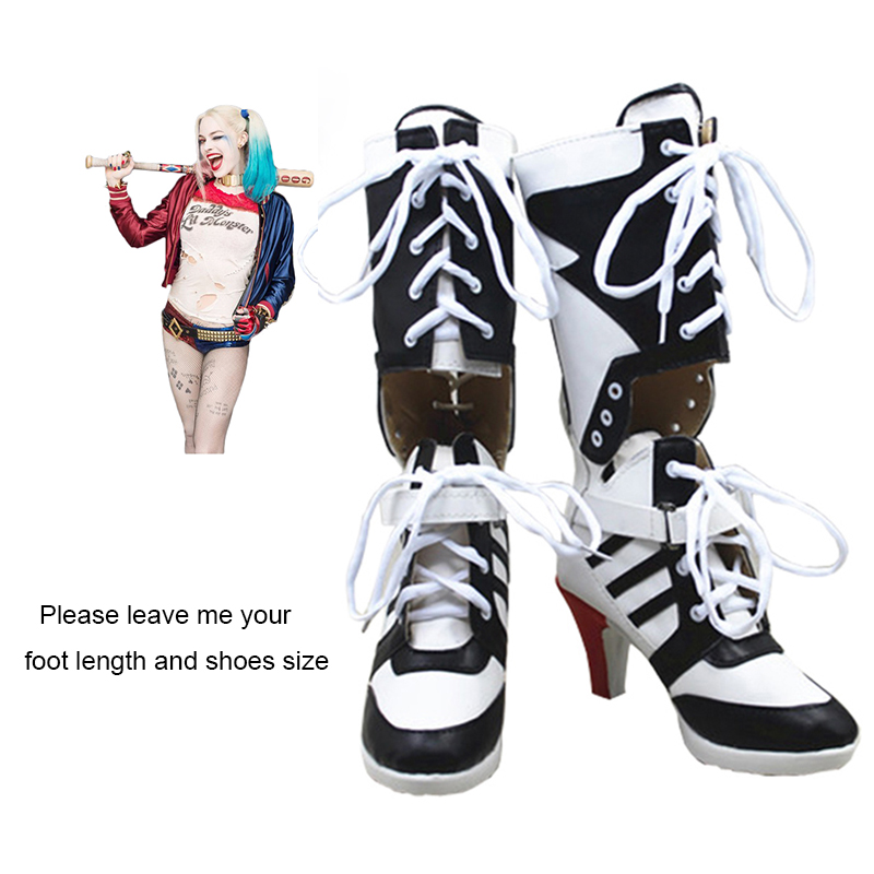 Batman Suicide Squad Harley Quinn Boots Cosplay Costume Shoes High Heels Adult Women Movie Fashion Boots Halloween Customized suicide squad harley quinn boots bota accessories black women for harley shoes harley quinn costume cosplay suicide squad