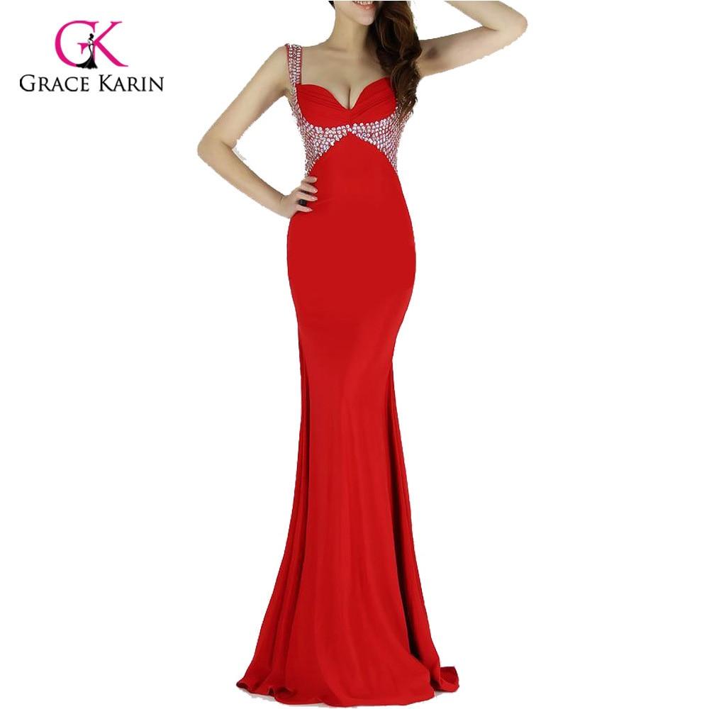 Backless Mermaid Evening Dress 2018 Grace Karin Black Red Purple ...