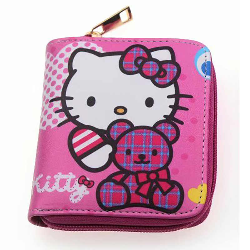 f5e985a3a Kawaii Pink Girl Lady Leather Purse Hello Kitty Zipper Card Coin Holder  Organizer Wallets Gifts Kids