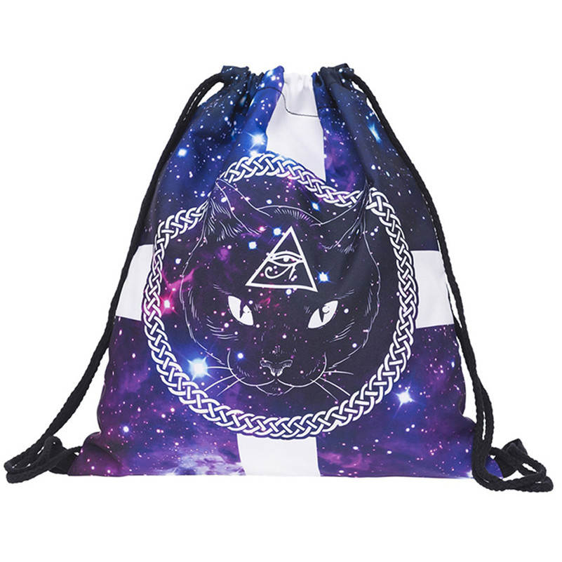 Fashion Unisex Backpacks 3D Printing Bags Drawstring Backpack Female Male High Grade Drawstring Rucksacks A8