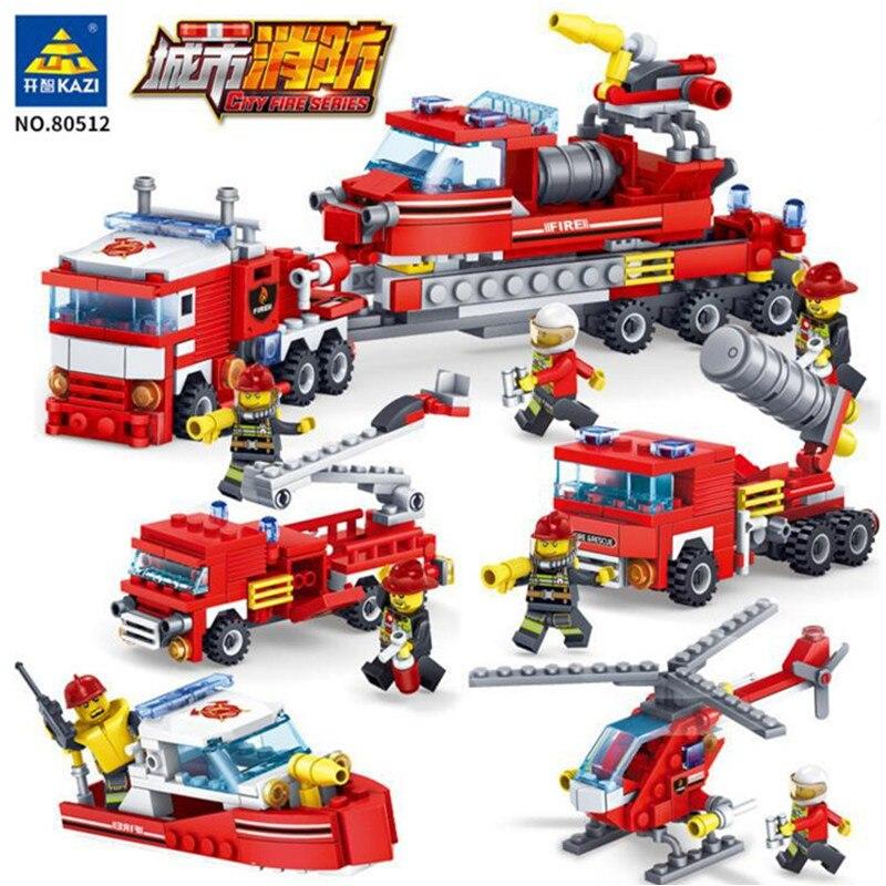 KAZI 348Pcs Legoings Kota Pemadam Kebakaran Mobil Helikopter Perahu - Mainan bangunan dan konstruksi - Foto 1