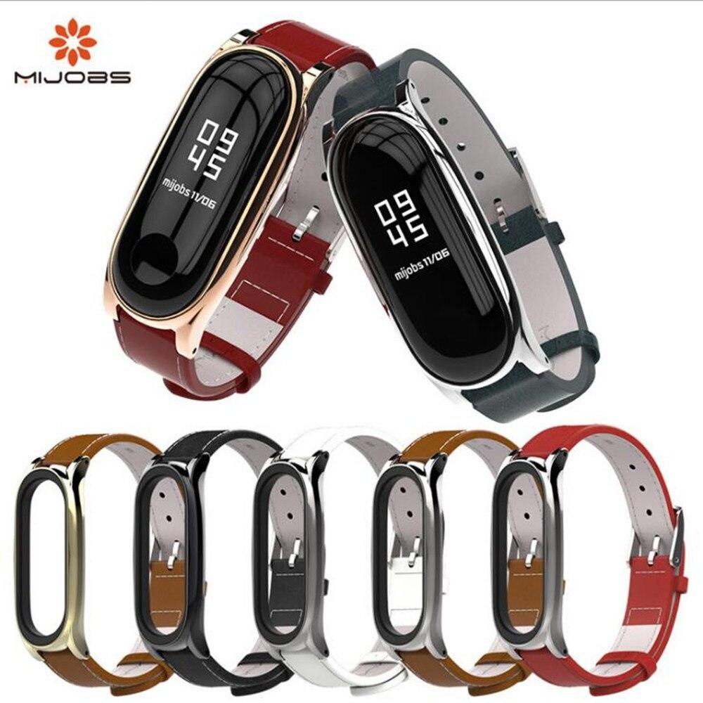 Mijobs Genuine Leather Strap For Xiaomi Mi Band 3 Smart Watch Screwless Bracelet mi band 3 Strap Miband 3 Strap Screwless Wris
