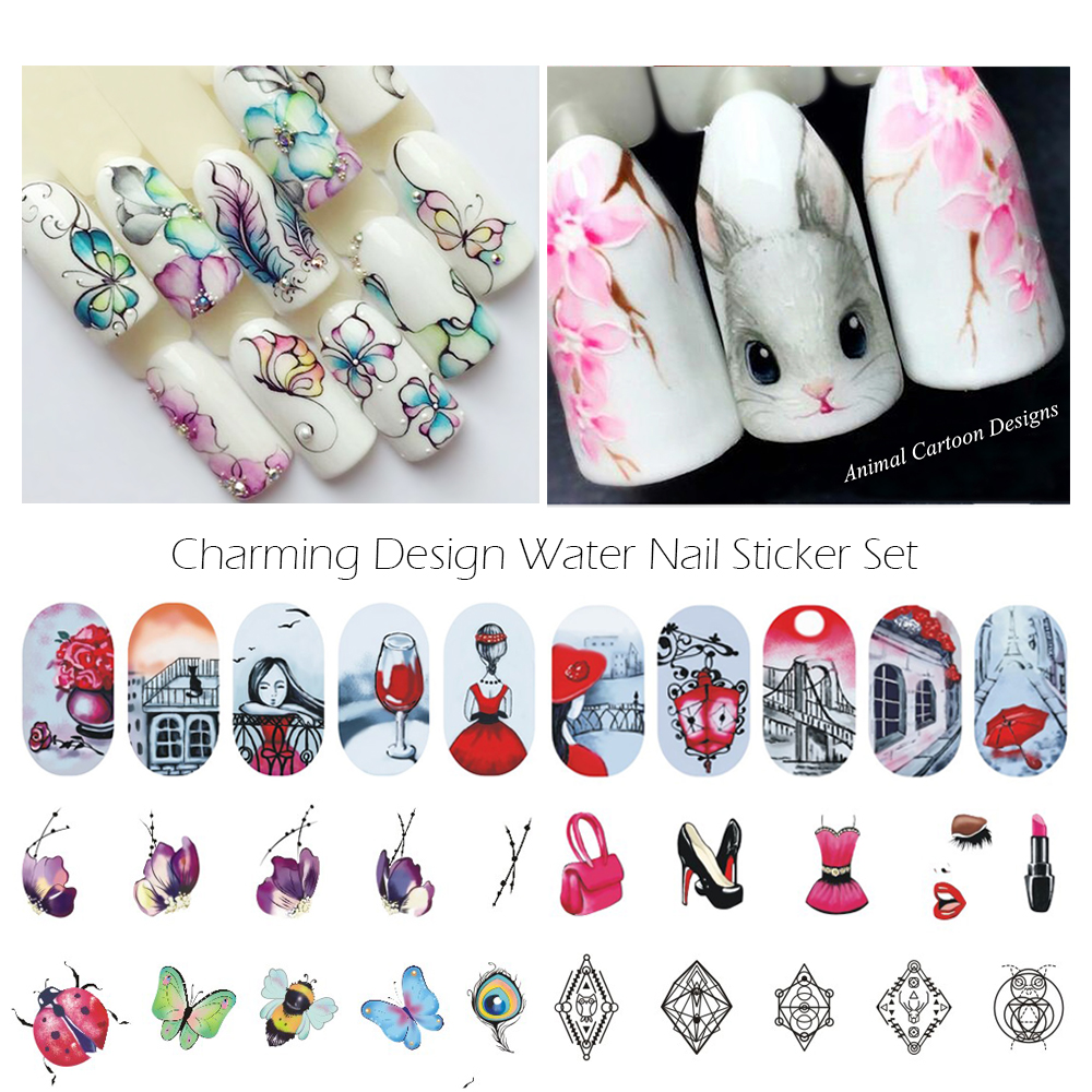12 Sheets Nail Sticker Water Transfer Decals Full Wraps Cat Flowers Feather Design Nail Art Set Red Decoration Tips SASTZ501-512 12 sheets nail art water transfer sticker full cover decals french eiffel tower pisa italy design stickers wrap tips decoration