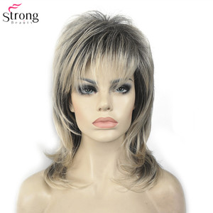 Image 2 - StrongBeauty Synthetic Wigs for Women Natural Hair Ombre Blonde/Brown Highlights Medium Curly Layered Capless Wigs Cosplay