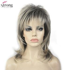 Image 2 - Strongbeauty perucas sintéticas para as mulheres cabelo natural ombre loira/marrom destaques médio encaracolado em camadas capless perucas cosplay