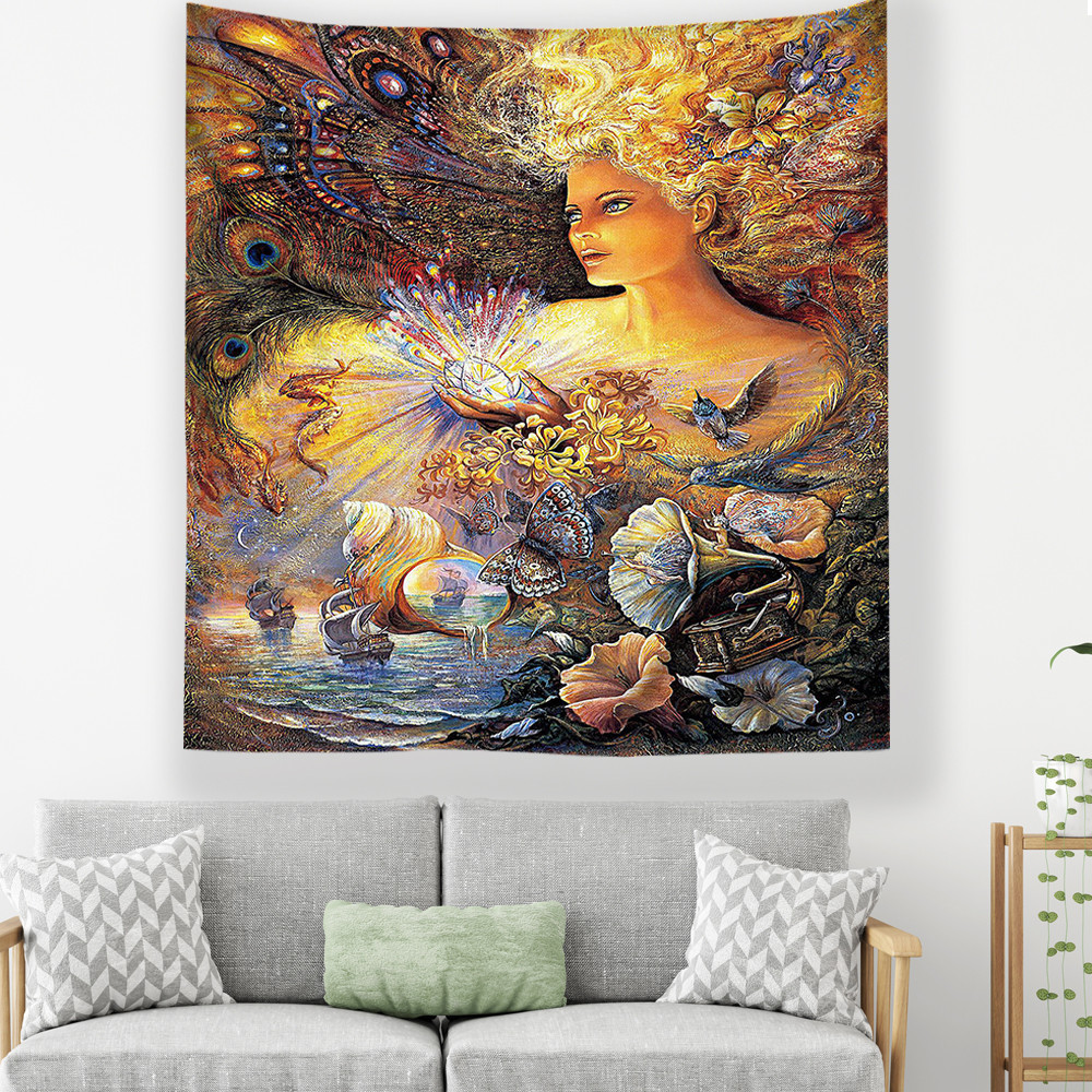 Tapestry Wall Carpet Tapiz Pared Tela Wall Hanging Psychedelic Tenture Tapestries Wall Carpet Boho Decoration Home Decor Blanket