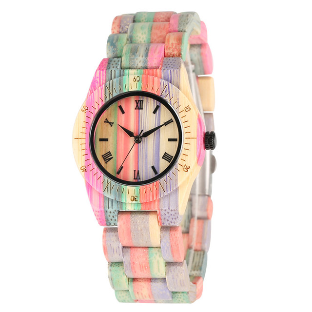 Colorful Roman Numerals Dial Bamboo Quartz Watch Movement for Women Imported Wrist Watches Lightweight Fashion Bamboo Watch | Fotoflaco.net