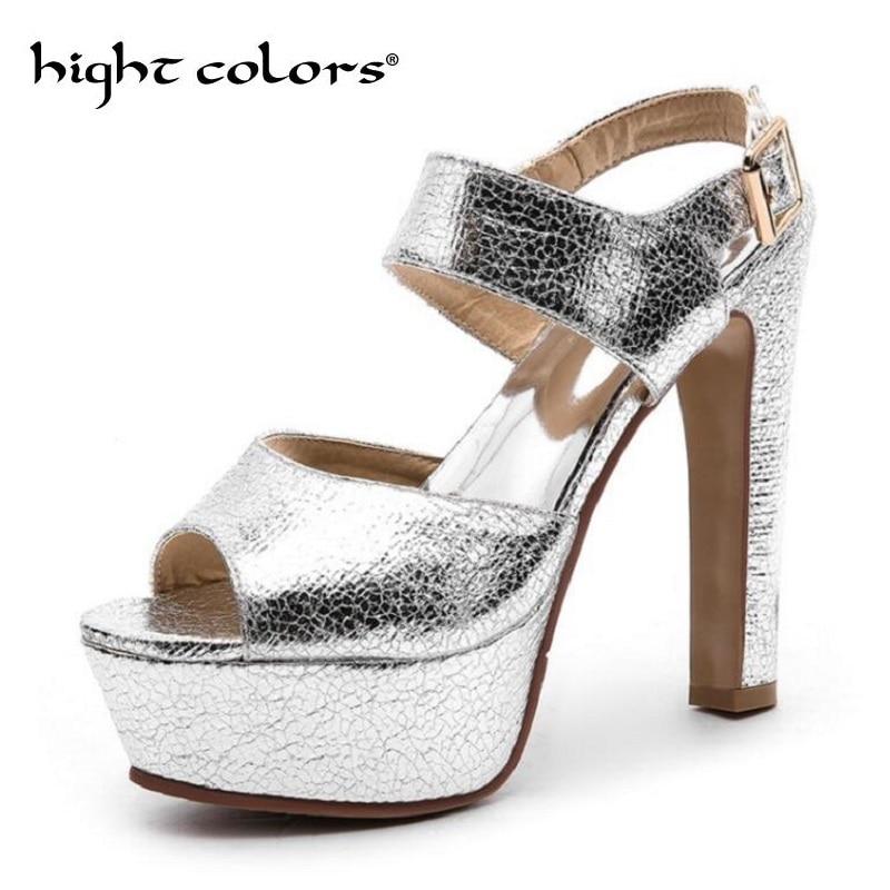 Las Plataforma Palabra 14 Para Talón Cm Alto De gold Zapatos Sexy Boca Dorado Sliver Super Gruesa Verano Impermeable Pez Hebilla Sandalias Mujeres rqY8Unxq