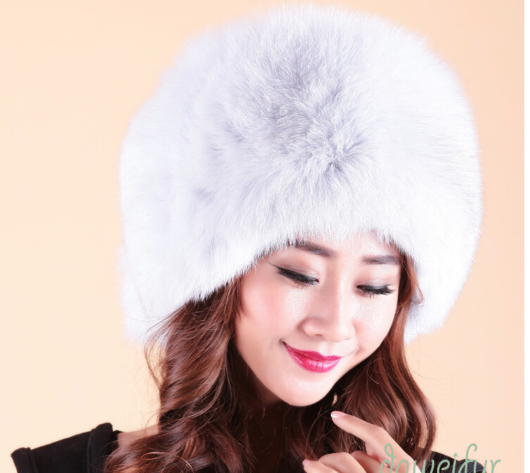 Russian style big size womens luxury genuine fox fur hat 2016 new winter warm elegant ladies hats thicken princess cap