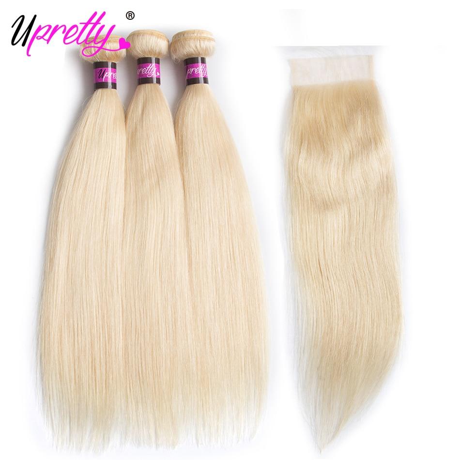 Upretty волос 613 светлые Связки с закрытием 613 Связки Малайзии прямые волосы 4 шт. человеческие волосы светлые Связки с закрытием