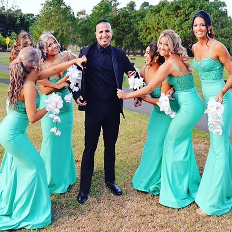 On Sale Cheap Turquiose Mermaid Long Bridesmaid Dress Women Wedding ...