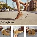 STARFARM ugc botas australia Piel de Oveja de cuero genuino de las mujeres de lana de oveja de piel de felpa de invierno botas de nieve del tobillo