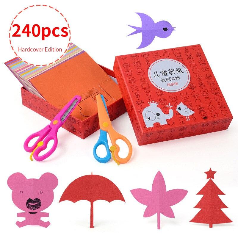 240 PCS Cartoon Paper Folding Cutting Knutselen Kinderen Art Craft DIY Educational Toys For Children Jouet Enfant Kindergarten