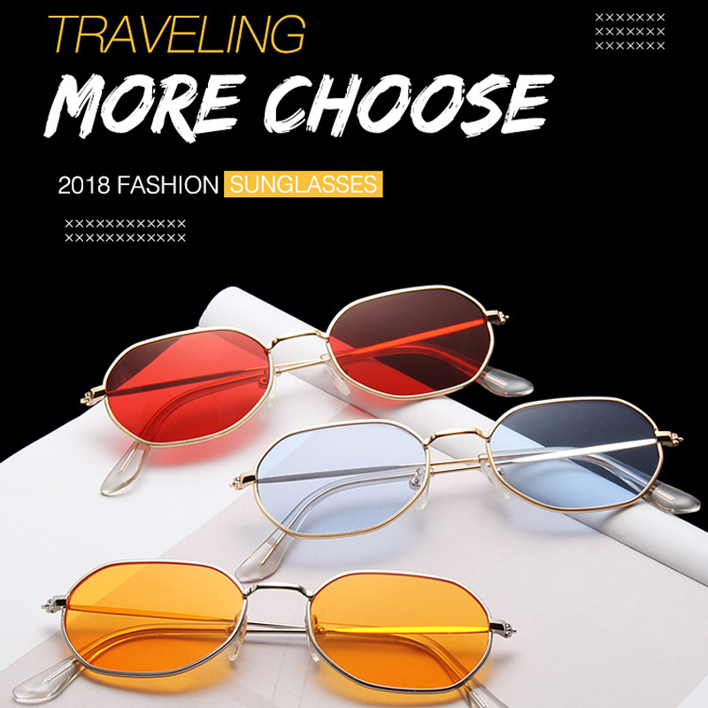 INEXA New Small Frame Retro Sunglasses Women Simple Luxury Designer Goggles Red UV400.