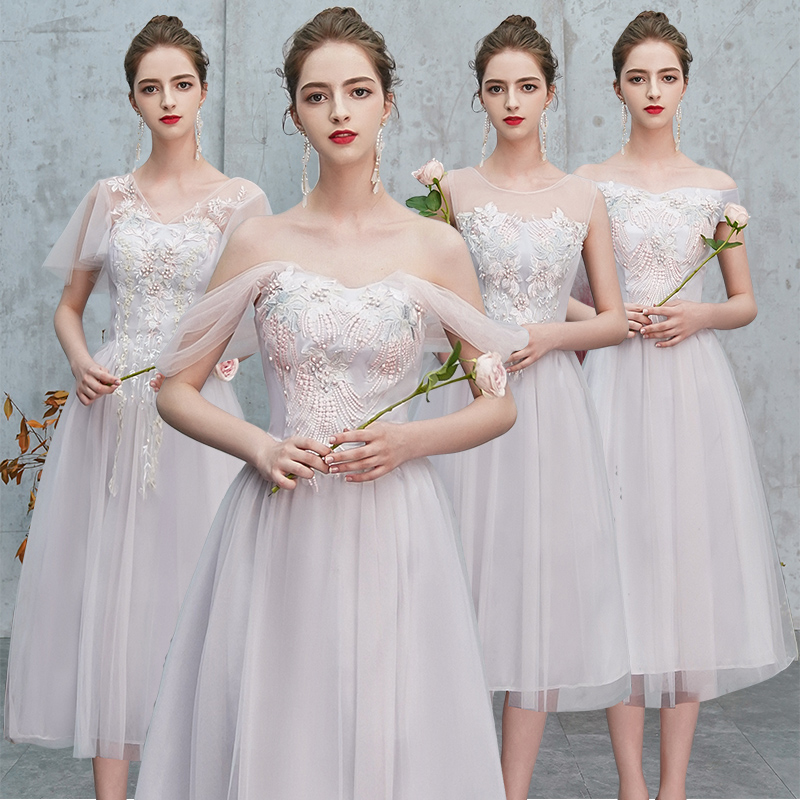 Wedding Party Dress Elegant Bridesmaid Vestidos Embroidery Plus Size Tulle Tea-Length Sexy Grey Pink Junior Princess Prom Dress