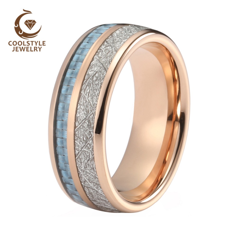 Men Women Wedding Band Tungsten Ring Forever Ring Rose Gold Color With Blue Carbon Fiber And Imitated Silver Meteorite Inlay gold and silver forever love steel couple ring for men 8 size