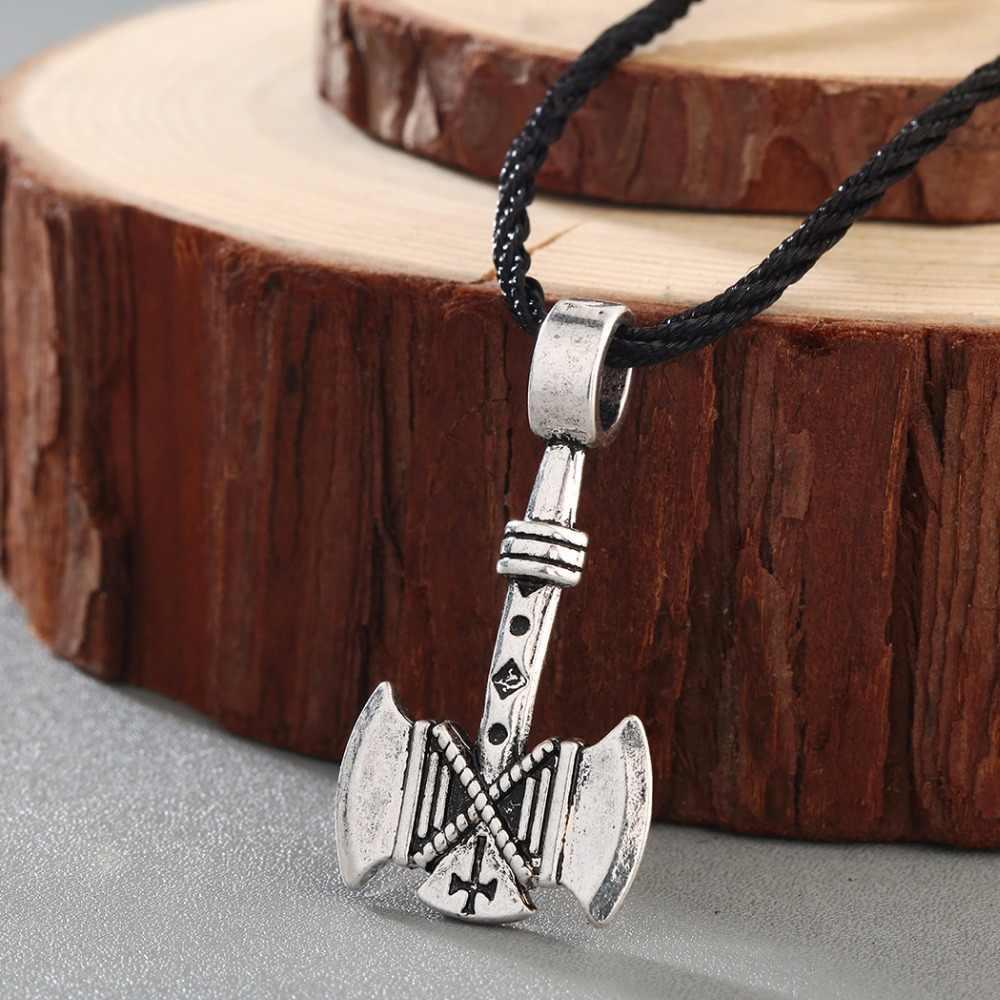 CHENGXUN Valknut topór wikingów naszyjnik Amulet osi Gothic Retro pogańskich wisiorek wikingów Thor młot osobowość biżuteria Handmade