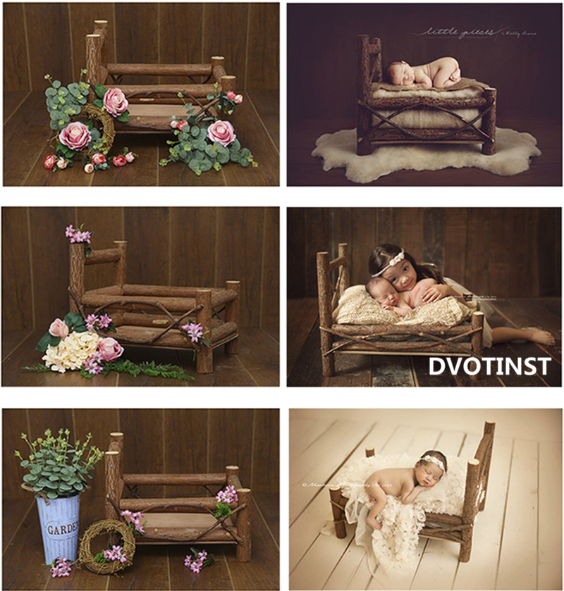 Dvotinst Newborn Baby Photography Props Flora Wooden Posing Mini Bed Solid Wood Fotografia Studio Accessories Shoots Photo Props