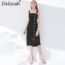 Delocah New 2019 Women Spring Summer Dress Runway Fashion Designer Sexy Spaghetti Strap Backless Elegant Vintage Vacation