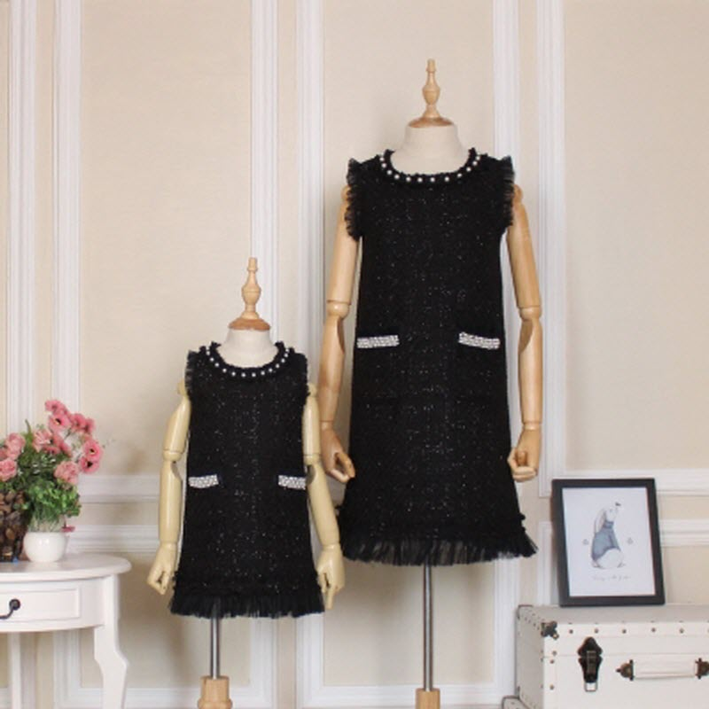 Children clothing Mother and Daughter Vest Dresses ,2-10 years old Child baby Girl Clothes , Women plus Large size increase 4XL children clothing mother and daughter dress black and white rabbit 2y 10y child baby baby girl infant lady women large size 4xl