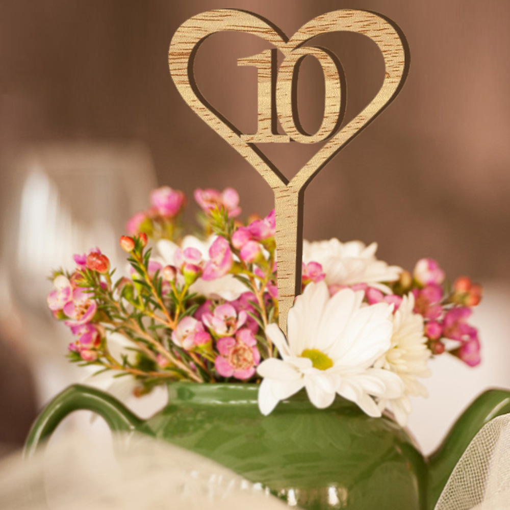 Wooden Rustic Wedding Decorations: 10pcs Wooden Table Numbers Rustic Wedding Heart Shape Wood