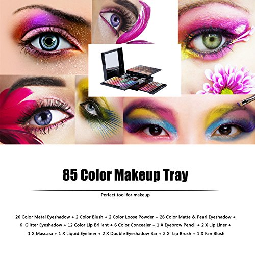 Free Shipping 85 Color PRO Makeup Set Eyeshadow Palette Blush Lip Gloss Glitter Powder Concealer Eye Pencil + Brush eyeshadow big palette pro 148 color make up palette full color contour big palette blush lip gloss make up eyeshadow