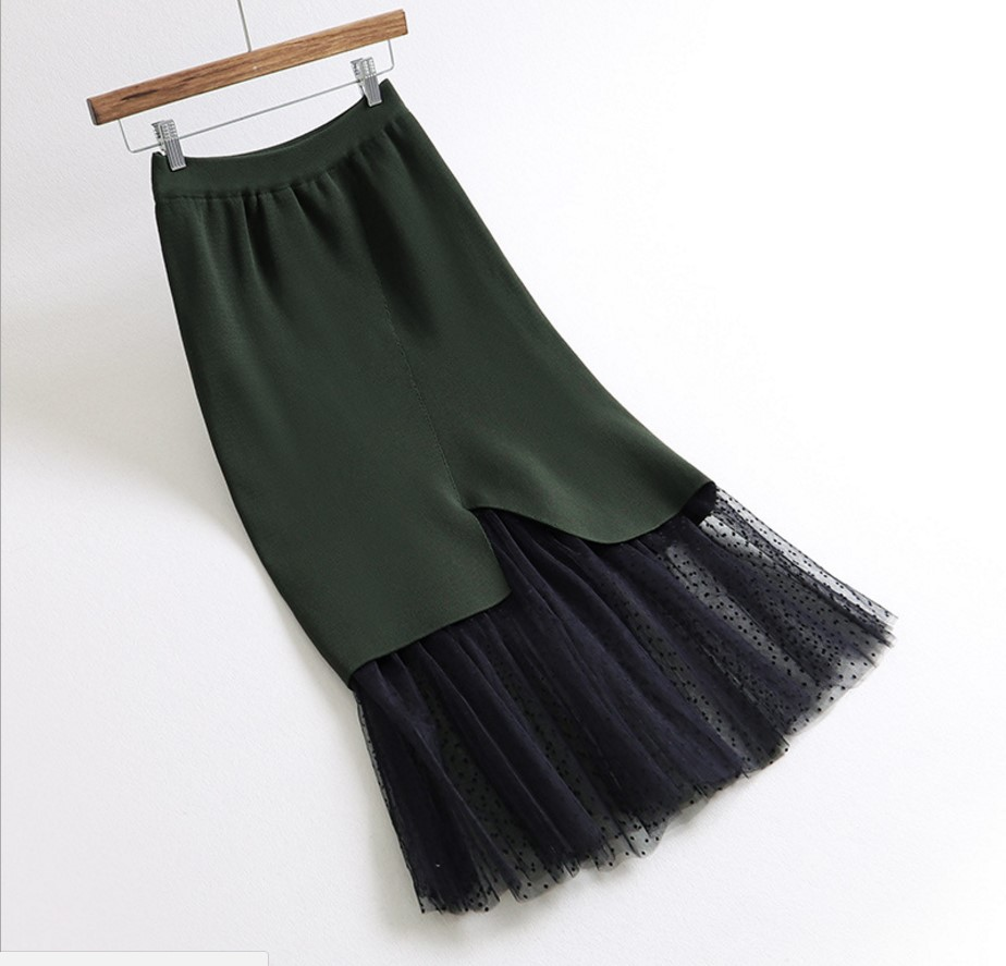 Las Patchwork Stretch La Caliente Pescado Mujeres Faldas Negro Saias Para Tulle Cola De Cintura Alta Invierno Negro Punto verde Colmena Verde Gtgyff 8EqwZPE