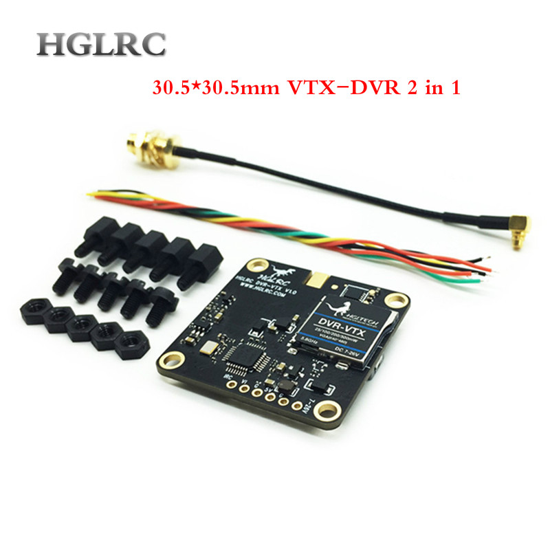 HGLRC 30.5*30.5mm DVR-VTX AIO 5.8GHz VTX DVR 40CH FPV Transmitter Built in DVR SMA/RP-SMA Female Connector for RC Drone запчасти и аксессуары для радиоуправляемых игрушек oem 5 8g sma fpv rc 1 rm349