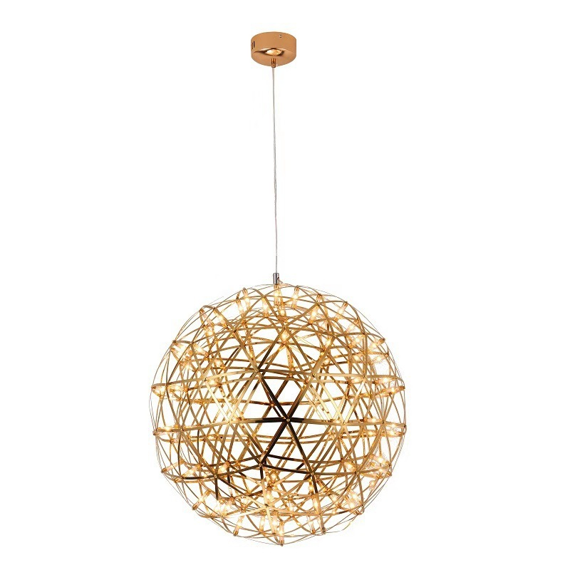 LukLoy Loft Gold Firework Pendant Light Suspended Stainless Steel Large Web Ball Lighting Fixture Kitchen Hall Pendant Lamp