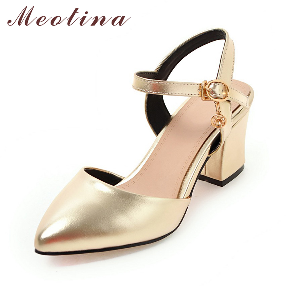 Meotina Woman Shoes 2017 Summer Women Sandals Pointed Toe Party Thick High Heels Sandals Sliver Wedding Shoes Gold Size 34-43 meotina high heels shoes women pumps party shoes fashion thick high heels pointed toe flock ladies shoes gray plus size 10 40 43