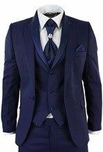 Mens 3 Pieces Classic Tweed Navy Blue Slim Fit Vintage Suit 40 42 44 46+ Custom