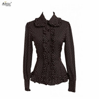 Spring/Summer/Autumn Ainclu XS XXL Womens Cotton Black White Dot Rendering/Outer Wear Lolita Blouse With Ribbon Free Shipping