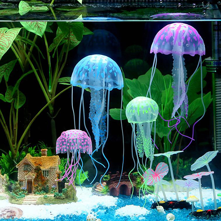 8cm artificial glowing jellyfish with sucker fish tank for Aquarium sucker fish