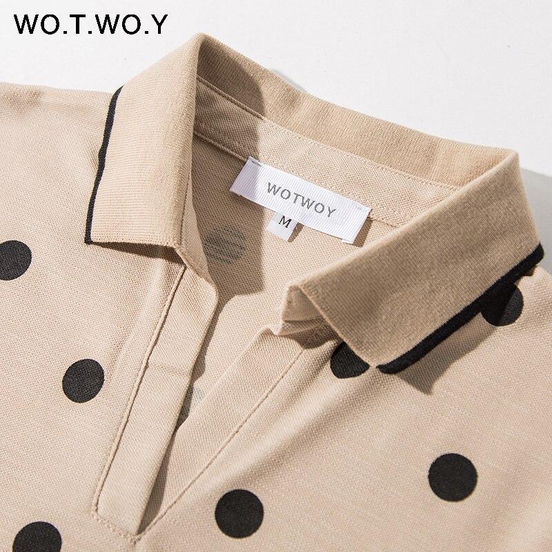 WOTWOY Summer Polo Shirt Dress Women Dot Print Plus Size Loose Cotton Maxi Dresses Pocket Short Sleeve Black Apricot Long Dress