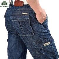 New 2015 Man Jeans Men Pants Blue Straight Cotton Male Denim Brand Jeans More Pocket Overalls