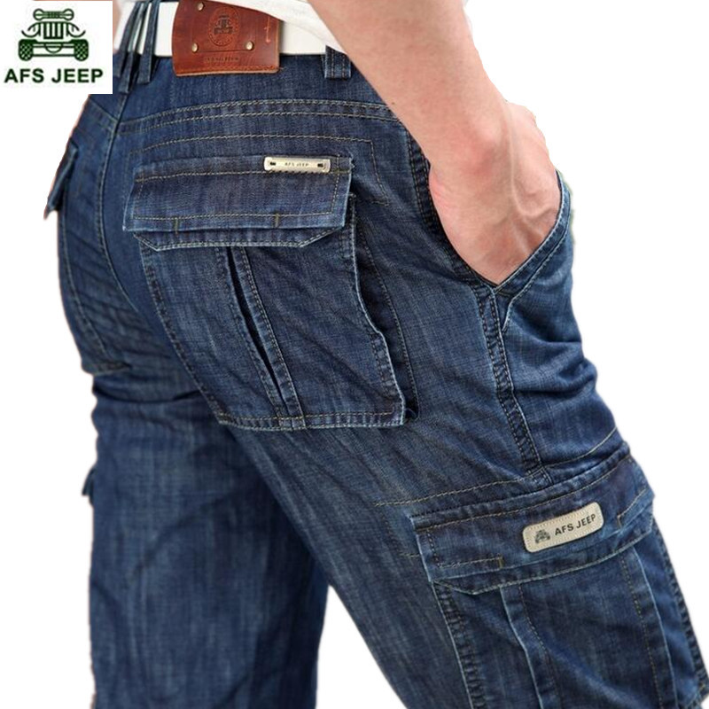 New  man Jeans Men Pants  Blue straight Cotton Male Denim Brand Jeans More pocket overalls