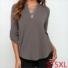 2017 Women T-Shirt Long Sleeve Pleated Chiffon T shirt Size Women Tops 4XL Big Size Ladies Work Shirts irregular 5XL