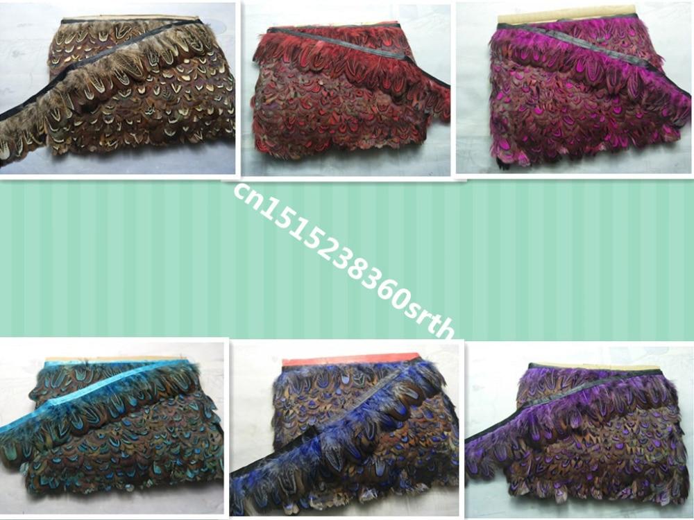 Groothandel 1 yards hoge kwaliteit natuurlijke fazant veren lint 2-3 inch / 5-7 cm breed decoratieve diy kleding accessoires